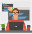 man programmer is working with laptop code vector image vector image