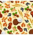 Nuts wheat and seeds seamless pattern vector image vector image