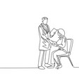 one line drawing young doctor handshake the vector image
