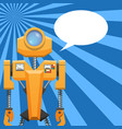 orange robot with blank text cloud vector image