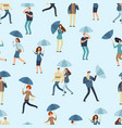 people holding umbrella walking outdoor in rainy vector image vector image