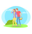 people in nature picnic man carries basket of vector image vector image