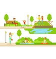 people relaxing and doing sports in public vector image vector image