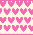 seamless pattern of pink hearts on white vector image vector image