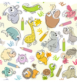 seamless pattern with kids drawings of animals vector image vector image