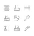 set line icons hair vector image
