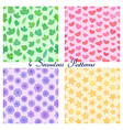 set of seamless patterns with outline leaves vector image vector image
