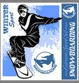 snowboarding emblem man on light vector image vector image