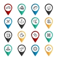 Travel navigation icons set vector image vector image