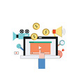 video marketing web concept with laptop and camera vector image vector image