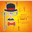 welcome carnival party gentleman mask confetti vector image
