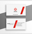 white and red business card elegant design vector image vector image