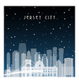 winter night in jersey city night city vector image vector image