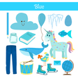 Blue Learn the color Education set of primary vector image