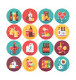 drink and beverage icon collection flat vector image