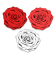 Set realistic sketch of roses Elegant flowers to vector image