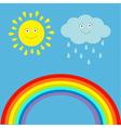 Cartoon sun cloud with rain and rainbow set vector image