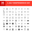 4 july line web glyph icons vector image vector image