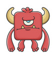 angry red square devil cartoon monster vector image vector image