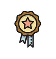 badge medal award with star and ribbons icon vector image