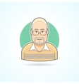 Bald man with glasses in a sweater icon vector image