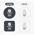 Basketball basket and ball icon Sport symbol vector image vector image