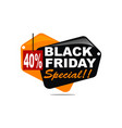 black friday special discount 40 percent vector image vector image