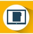 blue cartoon tablet file bubble speech vector image vector image