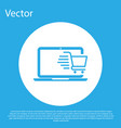 blue shopping cart on screen laptop icon isolated vector image vector image
