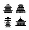 cartoon silhouette black traditional asian house vector image vector image