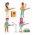 character guitarist playing on instrument vector image