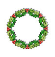 christmas wreath berries and fir leaves round vector image vector image