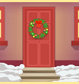 christmas wreath door holiday decoration new year vector image