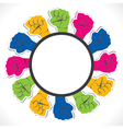 closed hand show the unity label vector image vector image