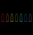 condom rainbow icon set line protection black vector image