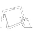 continuous line art close up hand using tablet vector image