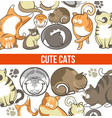 cute cats with big eyes in sleepy or playful poses vector image