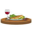 delicious dinner with a glass of wine vector image vector image