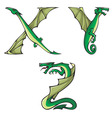dragons Alphabet XYZ vector image