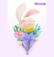 easter bunny with a bouquet wildflowers 3d vector image vector image