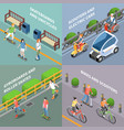 eco transportation concept icons set vector image vector image