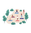 funny people practicing yoga in park group of vector image
