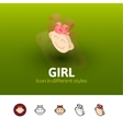 Girl icon in different style vector image