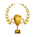 gold trophy with laurel whreat vector image vector image