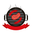 grill barbecue steak and sausages vector image vector image