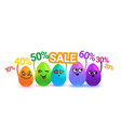 group of colorful cartoon easter eggs holding sale vector image vector image