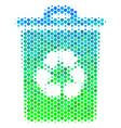 halftone blue-green recycle bin icon vector image vector image