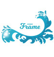 hand drawn ocean wave stylized as frame vector image