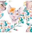 Hand drawn pattern Elegant Sphynx cat and tropical vector image vector image