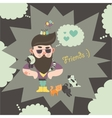 Hipster with his cats vector image vector image